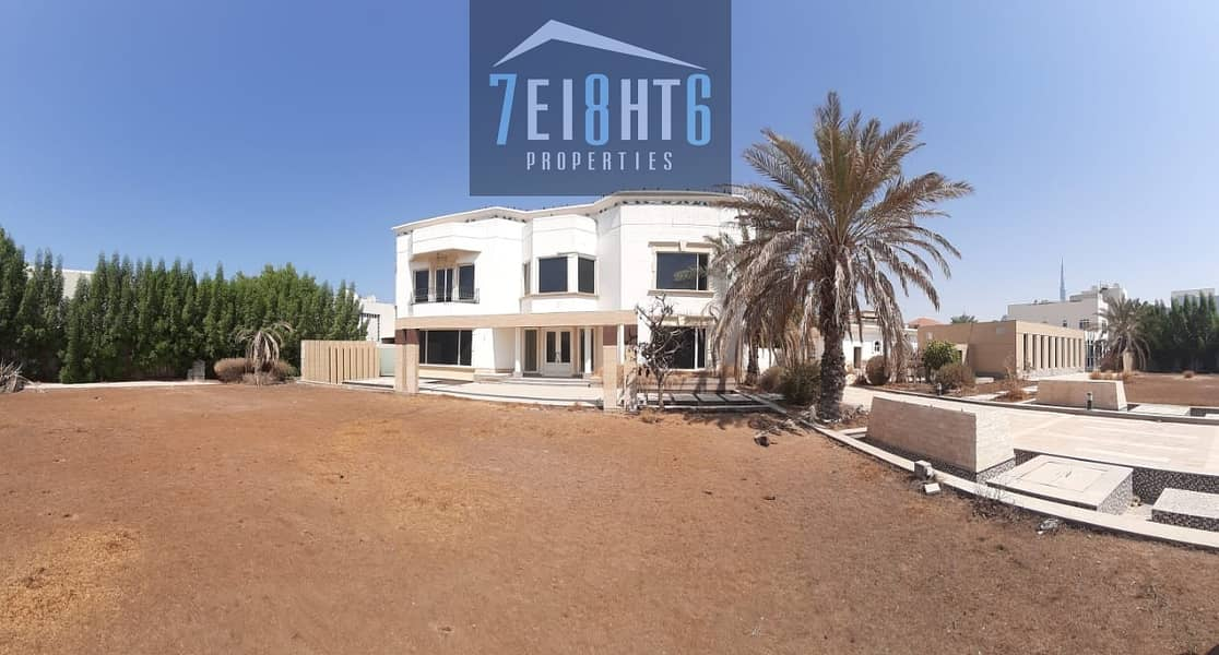 11 Outstanding quality: 11-12 b/r independent villa + maids room + sharing s/pool + large garden for rent in Jumeirah 3