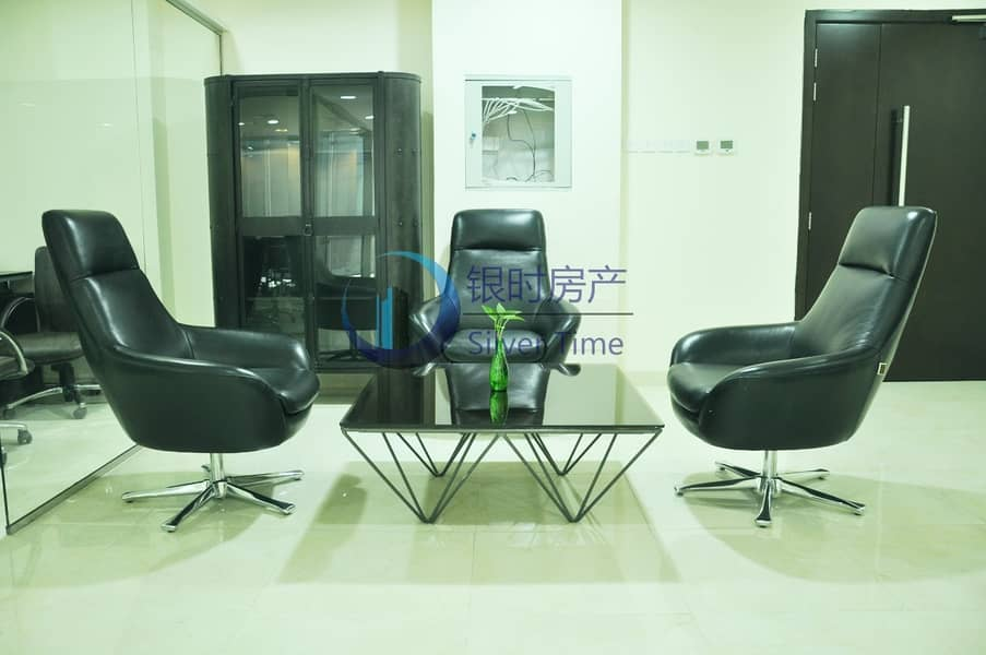 15 Perfect location / Fitted office with glass partition and furnitures.