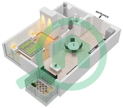 المخططات الطابقية لتصميم الوحدة 6 شقة 1 غرفة نوم - جولف فل