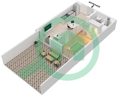 المخططات الطابقية لتصميم الوحدة 2 شقة 1 غرفة نوم - جولف فل