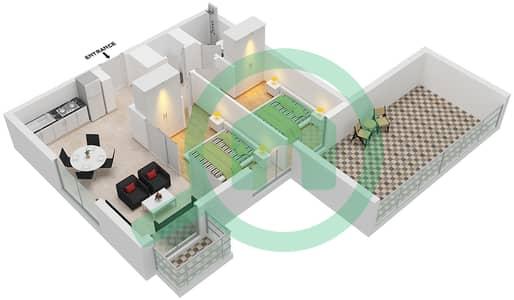 المخططات الطابقية لتصميم الوحدة 23 شقة 2 غرفة نوم - جولف فل