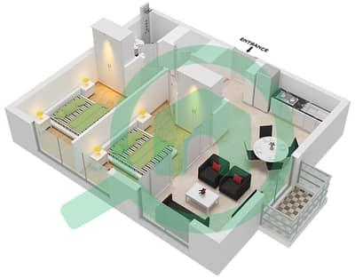 المخططات الطابقية لتصميم الوحدة 5 شقة 2 غرفة نوم - جولف فل