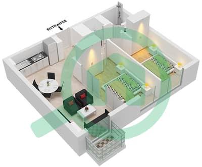 المخططات الطابقية لتصميم الوحدة 1 شقة 2 غرفة نوم - جولف فل