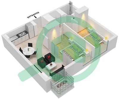 المخططات الطابقية لتصميم الوحدة 12 شقة 2 غرفة نوم - جولف فل