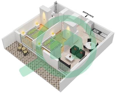 المخططات الطابقية لتصميم الوحدة 9 شقة 2 غرفة نوم - جولف فل