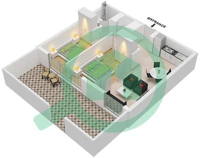المخططات الطابقية لتصميم الوحدة 1 FLOOR 1 شقة 2 غرفة نوم - جولف فل