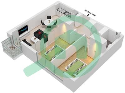 المخططات الطابقية لتصميم الوحدة 1  FLOOR 01 شقة 2 غرفة نوم - جولف فل