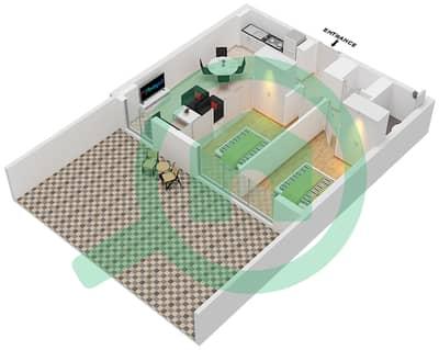 المخططات الطابقية لتصميم الوحدة 1 GROUND شقة 2 غرفة نوم - جولف فل