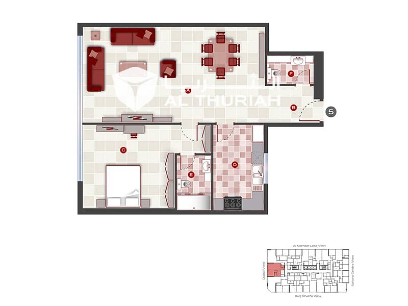 14 1 BR | Best Layout & Great View | Free 1 Month Rent