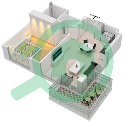 المخططات الطابقية لتصميم الوحدة 111,12 شقة 1 غرفة نوم - جولف سويتس من إعمار