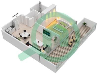 المخططات الطابقية لتصميم الوحدة 107 شقة 1 غرفة نوم - جولف سويتس من إعمار