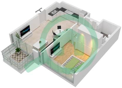المخططات الطابقية لتصميم الوحدة 101,1,1101 شقة 1 غرفة نوم - جولف سويتس من إعمار