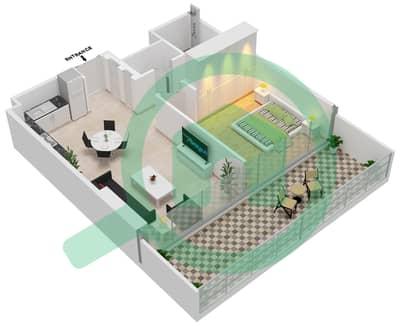 المخططات الطابقية لتصميم الوحدة 108,109 شقة 1 غرفة نوم - جولف سويتس من إعمار