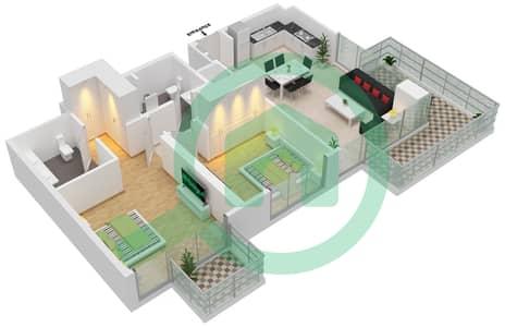 المخططات الطابقية لتصميم الوحدة 102,2,11 شقة 2 غرفة نوم - جولف سويتس من إعمار