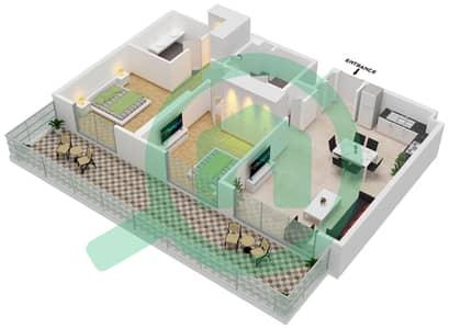 المخططات الطابقية لتصميم الوحدة 106 شقة 2 غرفة نوم - جولف سويتس من إعمار