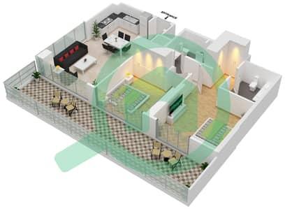المخططات الطابقية لتصميم الوحدة 110 شقة 2 غرفة نوم - جولف سويتس من إعمار