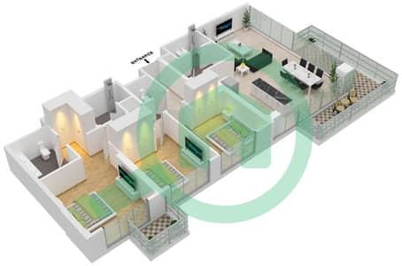 المخططات الطابقية لتصميم الوحدة 105,05,08 شقة 3 غرف نوم - جولف سويتس من إعمار
