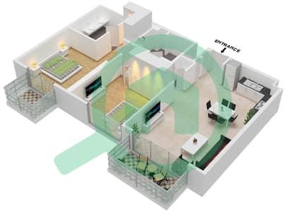 المخططات الطابقية لتصميم النموذج 103-104,114,3-4,7,15 شقة 2 غرفة نوم - جولف سويتس من إعمار