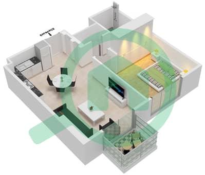 المخططات الطابقية لتصميم الوحدة 112-113,8-10,13-14 شقة 1 غرفة نوم - جولف سويتس من إعمار