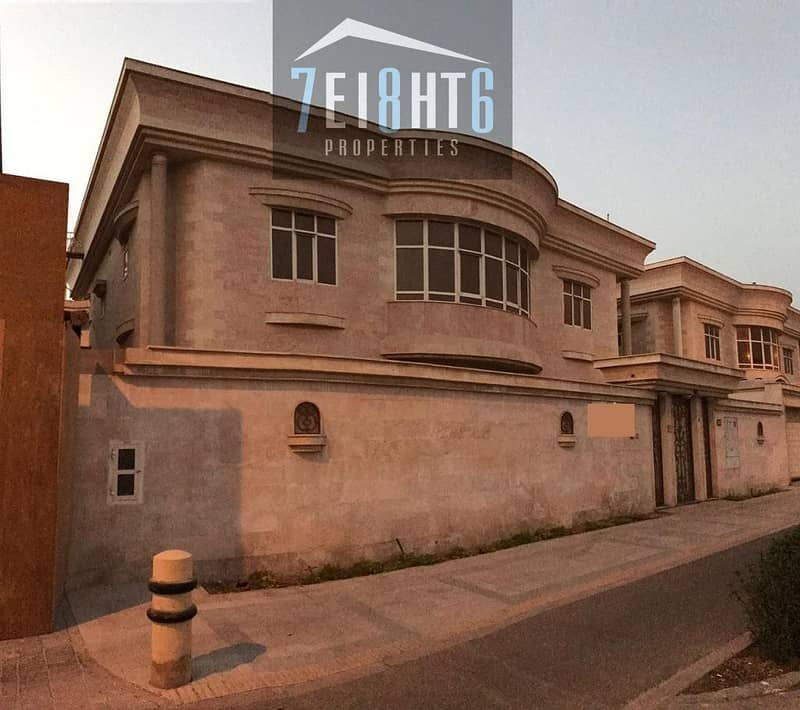 6 bedroom independent commercial villa with maids room + private s/pool + large landscaped garden for rent in Umm Suqeim