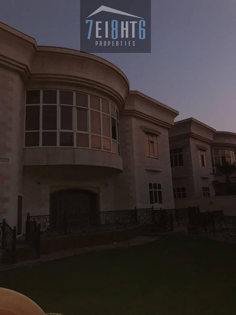 10 6 bedroom independent commercial villa with maids room + private s/pool + large landscaped garden for rent in Umm Suqeim
