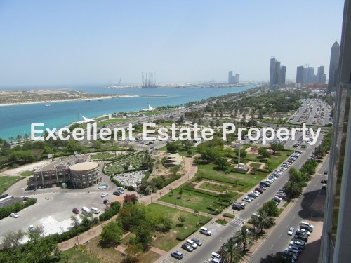 COZY AND LIGHT SEMI  FURNISHED OFFICES WITH THE BEST VIEW IN CORNICHE FOR 20,000 AED ONLY !!!